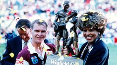 NRL Tina Turner, Winfield Cup video, Simply The Best, NRL promotional video, NRL advert Brisbane Broncos, New Nightmare, Tackle Bags, Rock Queen, Broncos Fans, League Gaming, Tina Turner, Rugby League, Fox Sports