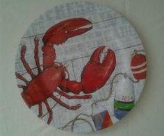 Coastal Lunch Melamine Plates Lobster Buoys Nautical Set of 4  #Nantucket