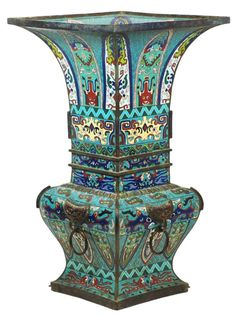 Large 19th c. Chinese Cloisonne Square Vase.