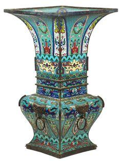 Large 19th c. Chinese Cloisonne Square Vase.