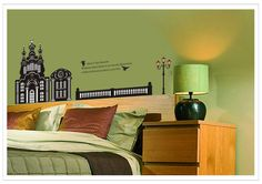 Wall Decor - OneHouse Golden Gate Bridge and Flying Birds Black and White Wall Sticker Removable Living Room Decor -