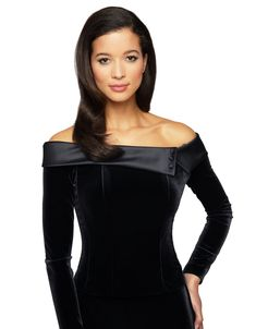 Look elegant and dreamy in this velvet top. Featuring a stunning off the shoulder neckline and a satin trim, this piece is brimming with style. Pair this with your favorite skirt for a must-have look. Evening Blouses, Alex Evenings, Velvet Fashion, Velvet Tops, Off Shoulder Tops, Black Velvet, Shirt Blouses, Fashion Outfits, Elegant
