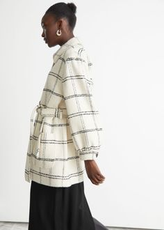 Belted Wool Mix Coat - White Checks - Woolcoats - & Other Stories GB