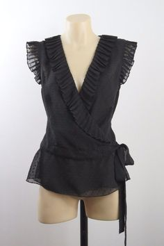 Size M 12 Jeans West Ladies Black Wrap Top Gothic Vintage Chic Office Cocktail  #Jeanswest #Wrap #Career