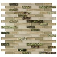 Tile for behind sink.   SomerTile 12x11.75-in Reflections Piano Rainforest Glass and Stone Mosaic Tile (Pack of 10)