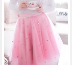 Barbie pink embellished Tulle skirt by TulleonLace on Etsy