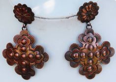 Genuine copper cross earrings... Western style/ boho chic / gypsy Facebook.com/Lety.Rangel