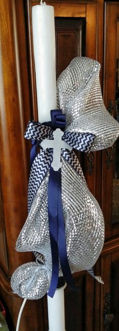 Silver and navy greek baptism candle lambada with cross Boy Baptism, Christening, Baptism Candle, Baptisms, Communion, 4th Of July Wreath, Wedding Events, Religion, Greek