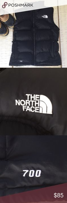 NORTH FACE - Black Goose Down 700 Puffer Vest Worn two times, and in flawless condition.  Everything in my closet is either in flawless condition or nearly flawless.  This is flawless, and I take care of my things. Went up a size or I would keep this vest.  It's the 700! The North Face Jackets & Coats Puffers