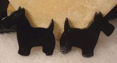 Vintage Large BAKELITE Dog Scottie Pup Clip on Earrings #Unbranded #Cluster