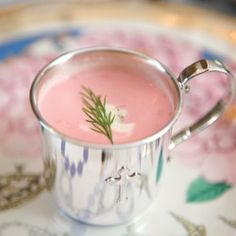 chilled gingered beet soup.......I might try this just for the pinkness!