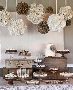 Cream and Taupe Wedding Inspiration and Ideas - paper pom poms crates and suitcases for dessert tables