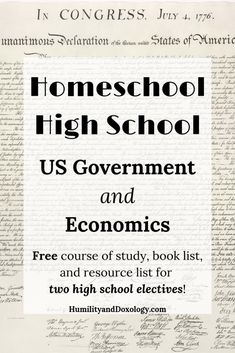 Homeschool High School: Free Curriculum Plan for US Government and Economics Courses - Humility and Doxology