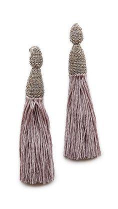 lavender + silver tassel earrings