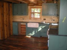 Charming Duck Egg Blue Polished Kitchen Cabinet And White Apron Front Sink As Well As Cool Dark Grey Soapstone Countertops And Wood Backsplash In Rustic Kitchen Decor Tips
