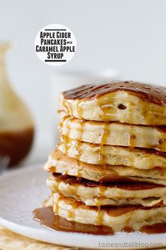 Apple cider pancakes are infused with apple cider and then covered in a sweet and delicious caramel apple syrup for the perfect fall breakfast.