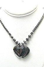 Hematite Double Heart Necklace - pinned by pin4etsy.com