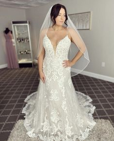This gown features a plunging neckline, lace motifs on chantilly lace with beaded spaghetti straps. Bridal Gowns, Wedding Gowns, New York Bride, Social Dresses, Bridesmaid Dresses, Prom Dresses, Romantic Lace, Chantilly Lace, Plunging Neckline