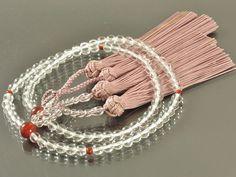 本水晶 瑪瑙 仕立て 蓮華切り房(深蘇芳色) 浄土真宗(門徒) 女性用本式数珠 | 数珠・念珠の専門店亀屋 京都の数珠職人がつくる日本製のお数珠を販売