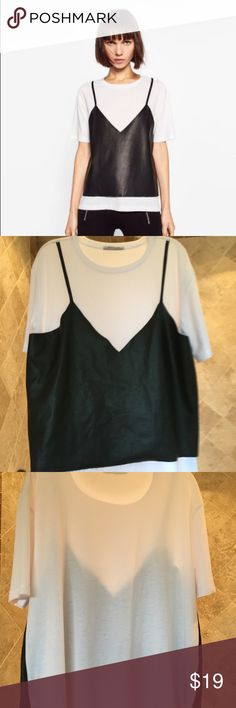 Zara shirt for women Zara shirt for women only worn once in great condition. May show very little if any signs of wear. Size M. Front leather material. Zara Tops Tees - Short Sleeve