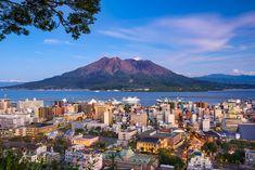 Photo about Kagoshima, Japan city skyline with Sakurajima Volcano. Image of landscape, landmark, nature - 70559859 Kumamoto, Kyushu, Japanese Site, Kagoshima, Landscaping Images, Visit Japan, Beautiful Islands, Around The Worlds, Skyline
