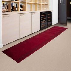 Kitchen Long Red Kitchen Floor Mats Above Ceramic Floor Under Wood Rack Wood Cupboard With Brown Wooden Door The Application of Kitchen Floor Mats