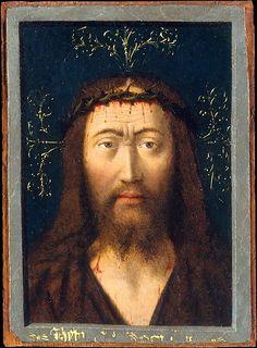 Head of Christ. Artist: Petrus Christus (Netherlandish, Baarle-Hertog (Baerle-Duc), active by 1444–died 1475/76 Bruges) Date: ca. 1445 Medium: Oil on parchment, laid down on wood