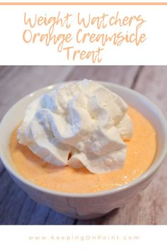Weight Watchers Orange Creamsicle Treat - one of my favorite snacks! Weight Watchers Meal Plans, Weight Watchers Smart Points, Weight Watchers Desserts, Light Desserts, Low Carb Desserts, Healthy Desserts, Low Fat Snacks, Diabetic Desserts, Diabetic Recipes