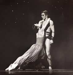 Carla Fracci and Mikhail Baryshnikov perform in the American Ballet Theatre's production of 'Medea' (by John Butler, with music by Samuel Barber), 1976.