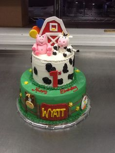 Farm theme first birthday cake Farm Birthday Cakes, Farm Animal Birthday, 1st Boy Birthday, First Birthday Parties, Birthday Party Themes, Birthday Ideas, Farm Themed Party, Farm Party, Farm Cake