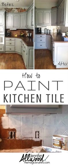 Kitchen Makeover Pin it: How to Paint Kitchen Tile Home Decor. By - Here are my tips how you can paint kitchen tile. I needed up update my kitchen quickly to match my new gray cabinets so I painted the backsplash! Painting Kitchen Tiles, Kitchen Paint, Kitchen Redo, Kitchen Ideas, Tile Painting, How To Paint Tiles, Painting Cupboards, Kitchen Tile Diy, Diy Tiles