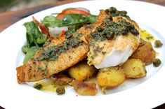 Pan fried fish with lemon & herb butter sauce and deep-fried capers. Where have you been all my life deep-fried capers? Fish Dishes, Seafood Dishes, Seafood Recipes, Dinner Recipes, Cod Recipes, Grilled Fish Recipes, Grilling Recipes, Cooking Recipes, Shawarma