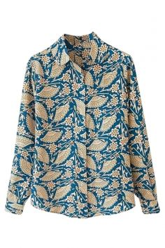 Blue #Charming Womens #Retro Fan Printed Long Sleeve #Blouse