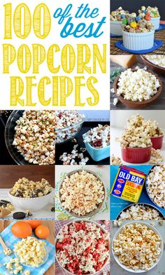 March 2015 is NATIONAL POPCORN LOVERS DAY! Many of us love popcorn. So, it only makes sense that there should be a special day just for popcorn lovers. Ultimate Popcorn Recipes Round Up - 100 of the BEST Sweet and Savory Popcorn Recipes! Yummy Snacks, Delicious Desserts, Snack Recipes, Dessert Recipes, Cooking Recipes, Yummy Food, Dessert Healthy, Breakfast Healthy, Cooking Games