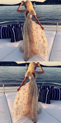champagne party dress v neck prom dress with sleeves tulle evening dress