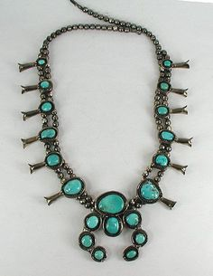 Authentic Native American Turquoise Squash Blossom Necklace