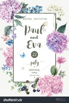 Vintage floral wedding invitation with Blooming Hydrangea and garden flowers, botanical natural hydrangea Illustration. Summer floral hydrangeas greeting card