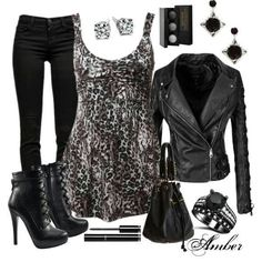 Leather Jacket and Leopard Shirt