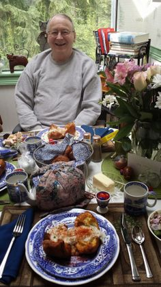 George relaxes at our Easter Brunch table..He was happy to have a quiet day..His Parkinson's ladopa meds are kicking in...he is walking with a cane...taking longer strides Alzheimer Parkinson challenges mean more holiday planning on the low key... www.wordpress.com/seniorcaretips