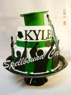 Graduation cake. Green, black and white.