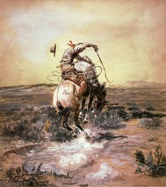 Charles Marion Russell - 'A Slick Rider'  ❦