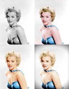 I played with changing a black and white photo of Marilyn Monroe into colour before