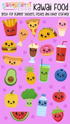 Cute kawaii health and junk food illustrations clipart. Great for planner stickers, felties, play food, applique and so much more. Cute Food Drawings, Cute Kawaii Drawings, Kawaii Doodles, Cute Doodles, Kawaii Art, Doodle Drawings, Easy Drawings, Doodle Art, Food Illustrations