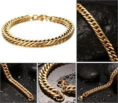 Jewelry 0.8cm Wide Stainless Steel Gold Silver Curb Chain Bracelet for Men Women Stainless Steel High Polished, 8.6 Like if you are Excited! #Jewelry #shop #beauty #Woman's fashion #Products