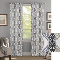 Better Homes and Gardens Damask Ogee Curtain Panel - Walmart.com in Grey. Need 8.