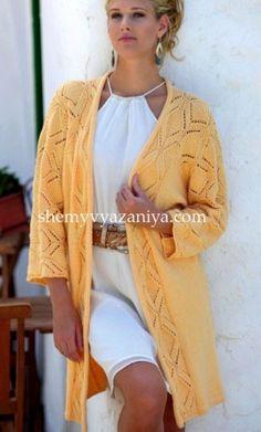 Длинный жакет кимоно с ажурным узором Размеры: 34 - 38, 40 - 44. http://shemyvyazaniya.com/page/dlinnyj-zhaket-kimono-s-azhurnym-uzorom