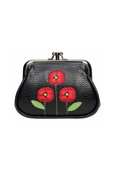 Our cutest purse in a vintage clipper style featuring three appliqué poppies on a black background, created with pretty embroidery that is just such a delight. The New Poppy Faux Leather Clipped Coin Purse has a secure double pewter clipper clasp that opens the two interior compartments either singly or together, to reveal plenty of room inside for coins, cards and notes. The new grainy elegant faux leather feels so real that we have even caught ourselves sniffing it! This is a statement…