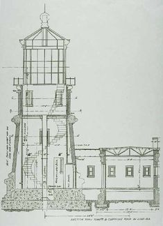 """Split Rock Lighthouse Blueprint"" by Vintage Map Store Lighthouse Drawing, Lighthouse Art, Lighthouse Pictures, Split Rock Lighthouse, Blueprint Art, Elevation Drawing, Interesting Buildings, Technical Drawing, Love Drawings"