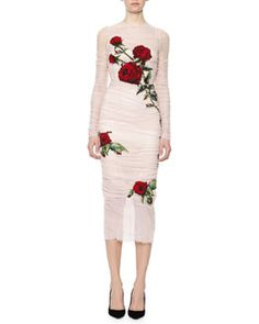 W06Z6 Dolce & Gabbana Rose Applique Ruched Tulle Sheath Dress