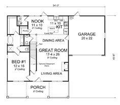 Cottage Style House Plan - 4 Beds 3.5 Baths 1871 Sq/Ft Plan #513-1 Floor Plan - Main Floor Plan - Houseplans.com